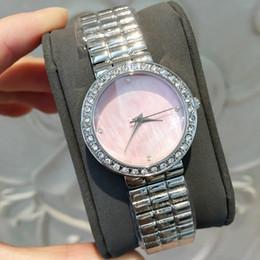 2019 cor rosa shell 2019 Top Fashion Mulheres Relógio Com Diamante Shell dial rosa Cor de Aço Inoxidável Senhora de Luxo relógio de Pulso Rose vestido de Ouro Assistir frete grátis cor rosa shell barato