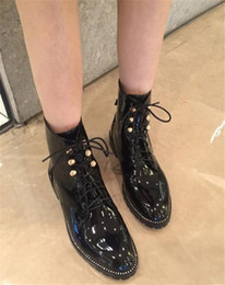 botines negros con cordones Rebajas Otoño invierno mujer puntiagudo moda encaje -up tobillo botas charol negro plana martin botas espárragos diseño damas caballero botines zapatos
