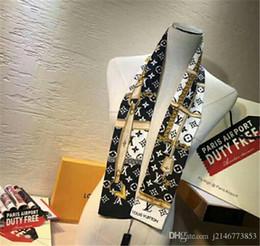 2019 bufanda de rayas azul blanco Calidad superior de seda de lujo de doble capa diadema impresa corbata bufanda corbata multiusos wome marca bolsa cinturón decorativo exclusivo al por mayor 7 * 12