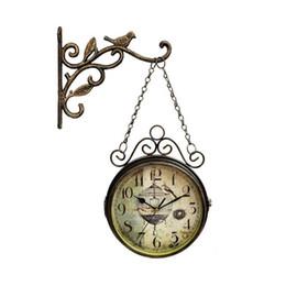 tênis de mesa vintage Desconto Inovador relógio de parede - Retro Dupla Face Simples Silencioso Quartz Relógio de ferro forjado rodada relógio para Sala Decoração T200103