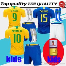 Thailand Brazil KIDs KIT Soccer Jersey 2018 World Cup Brasil KIT 10 NEYMAR  JR Football Shirts 9 G.JESUS 11 COUTINHO MARCELO 12 Marcos discount brasil  soccer ... f6407f6dd