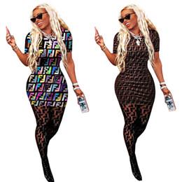 Camisas de mulher de manga curta sexy on-line-F Carta Impressão T-shirt Vestido Mulheres Verão Mangas Curtas Rodada o pescoço impressão Vestidos Mulheres Esportes Apertado Sexy bodycon Saia LJJA2297