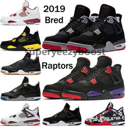 Canada Pas cher Nike Air Jordan 4 hommes chaussures de basket-ball sneakers noir jaune blanc ciment Pure Money Bred Royalty Jeux Royal 4s chaussures de sport US 7-13 Offre