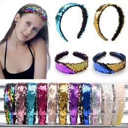 kids hair accessories Coupons - Girls Double-sided Sequins Headband Fashion Shiny Hair Sticks Discoloration Sequins Designer Headband Women Kids Hair Accessories HHA637