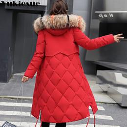 2019 lunghe giacche calde con cappuccio donna 2018 New Winter Jacket Women Parka con cappuccio in pelliccia sintetica Cappotti donna manica lunga spessa giacca da neve calda Cappotto Mujer trapuntato Top Y190828 lunghe giacche calde con cappuccio donna economici