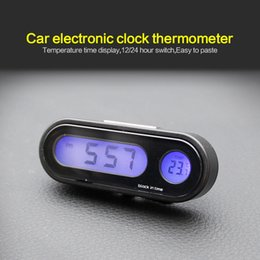 ha portato il termometro orologio dell'automobile Sconti Portable 2 in 1 LED Car Digital Blue retroilluminazione Temperatura Clock display elettronico termometro dell'orologio Automobili interni