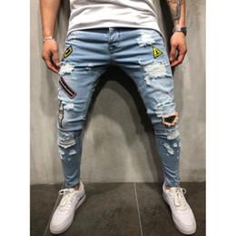 Preço da calça jeans on-line-Preços por Atacado Homens elásticos Jeans Ripped Skinny Jeans motociclista destruídos Gravado Pants Magro Denim Jeans CA