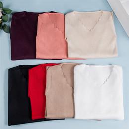 2019 livre senhoras tricô padrões Barato Sexy V Pescoço Primavera Outono Mulheres Blusas De Malha Pullovers Elásticos Mulheres Casual Jumper Magro Camisolas FS8221 Feminino