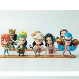 2019 figuras de acción de una pieza zoro Buena calidad 10 PCS Set One Piece Luffy Zoro Sanji Hancock Figuras de acción PVC Anime Toys Japanese Cartoon Doll Toys Envío gratis rebajas figuras de acción de una pieza zoro