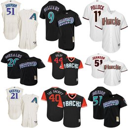 pullover di cooperstown Sconti Arizona 51 Diamondbacks Randy Johnson AJ Pollock Luis Gonzalez Matt Williams Maglia Cooperstown Mesh Batting Practice Baseball Jersey