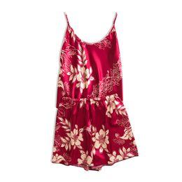 2019 meias de corpo inteiro Mulheres Pijamas de Verão Sleepwear Conjuntos de Pijama De Seda Das Senhoras Cinta Shorts Casa Desgaste de duas peças terno 2019 Nova Moda Mais Barato S M L XL