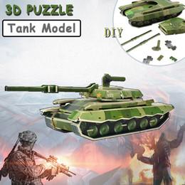 2019 modelli di carri armati Cartone 3D Puzzle Giocattoli militari Modello di serbatoio assemblato a mano creativo per bambini Giocattoli per lo sviluppo intellettuale Regali educativi modelli di carri armati economici