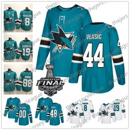 2019 jersey de 48 tubarões San Jose Sharks 2019 Stanley Cup Nova Marca # 44 Marc-Edouard Vlasic 47 Joakim Ryan 48 Tomas Hertl Preto Teal Verde Branco Camisas De Hóquei jersey de 48 tubarões barato