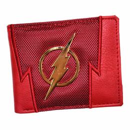Tarjetas flash de animales online-FVIP Nueva llegada de los hombres Billetera corta DC Wallets The Flash / Superman Purse con lentejuelas y portatarjetas Monederos infantiles # 302350