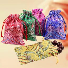 joyas de seda bordada Rebajas bolsas de la joyería de seda bordar Wave seda de embalaje de regalo Bolsa 9x13cm (3,5 \