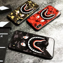 Karikatur aus gehärtetem glas iphone online-Ausgeglichenes Glas-Kasten für Iphone 11 pro X XS Max XR 6 6S 7 8 Plus Hard Cover Mode Camouflage Shark Mouth Cartoon Shell Protect