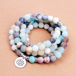 Encantos de yoga om online-Chakra Fashion Women`s bracelet Matte Frosted Amazonite cuentas con Lotus OM Buddha Charm Yoga pulsera 108 mala collar dropshipping