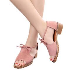 Sandalias de cuña niña plana online-Sandalias de Gladiador de las mujeres Zapatos de Verano Pisos Casual Señoras Lace Up Cuña Alpargatas Chica Verano Chunky Vacaciones # 10250