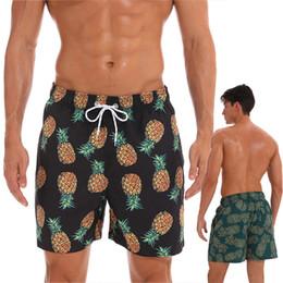2019 maillot de bain ananas Maillots de bain à séchage rapide pour hommes maillots de bain shorts de plage avec motif d'ananas en doublure en mesh maillot de bain ananas pas cher