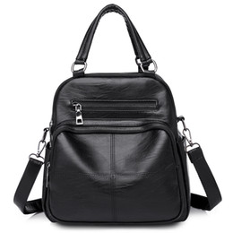 Borsa coreana delle nuove donne di modo online-2019 New Fashion Women Handbag PU Solid Wild Leisure Ladies Backpack Moda semplice e versione coreana della borsa Wild
