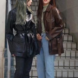 jaqueta de couro cintura Desconto 2018 outono nova Dongdaemun retro lapela bonito cinto de couro PU jaqueta longa jaqueta feminina