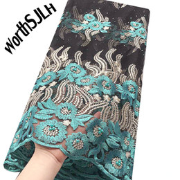 Encaje nigeriano de plata online-WorthSJLH Nigerian French Tulle African Fabric Lace 2019 Material de encaje nupcial suizo Aso Ebi Silver Nigeria Green Lace Fabric para mujeres