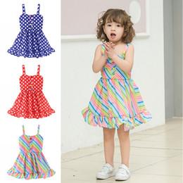 2019 vestidos de rayas de arco iris Ropa de las muchachas de los niños Bebé Rainbow Raya Dot Dress Niños Ropa de diseñador Vestido de la liga Ropa de verano Sling Beach rebajas vestidos de rayas de arco iris
