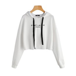 84a631091c0d1 White Drop Shoulder Raw Hem Crop Hoodie Women  S Letter Print Long Sleeve  Casual Pullovers Sweatshirt Fall Top cropped pullover hoodie on sale