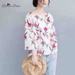 6ac1f516b7f BelineRosa Casual Plus Size Women Clothing 2019 Summer Style Flower  Printing Women Tunic Sweet V Neck Elegant Clothes JJDM0048