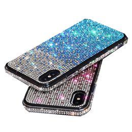 Caso del telefono di iphone per le ragazze online-Per Iphone 11 pro xr x xs max 8 7 6 più strass caso telefono premium della moda di lusso di scintillio di Bling caso antiurto ragazza