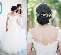 A-ligne Sheer Neck étage longueur robes de mariée en ivoire avec trou de serrure dos manches courtes robes de mariée princesse Custom Made robes de mariée ? partir de fabricateur