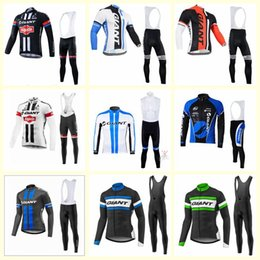 Maillot de manga larga gigante online-GIGANTE equipo ciclismo jersey 3D gel almohadilla de manga larga pantalones babero conjuntos de ciclismo pro ropa Maillot Suit E1419