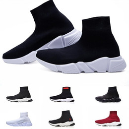 lace socks women ankle Coupons - 2019 Sock Shoes Triple S Sneakers Speed Flat Fashion Women Mens Black Red paris Casual Socks Zapatillas boots 36-45