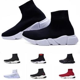 Rote satinwohnungen online-balenciaga Paris scarpe Luxury Brand 2019 Sock Shoes Triple S Sneakers Speed Flat Fashion Women Mens Black Red paris Casual Socks Zapatillas boots 36-45