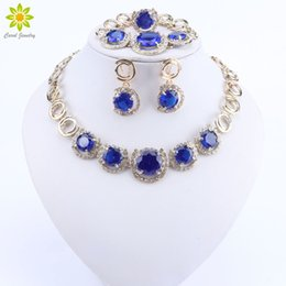 gold silver mix design ring Coupons - party set New Design Gold Color Blue Zircon Necklace Bracelet Earrings Ring Sets Women Dinner Party Jewelry Set