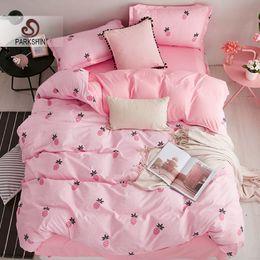 set di copriletto di cartone animato Sconti ParkShin Pineapple Cartoon Style Bedding Set Tessili per la casa Copriletto matrimoniale Lenzuola lenzuolo Biancheria da letto per adulti Set copripiumino