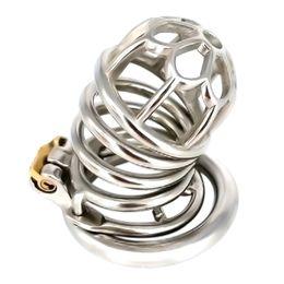 Castidad anti off anillos online-Dispositivo de castidad masculina de acero inoxidable para adultos Cock Cage con anillo de púa anti-apagado BDSM juguetes sexuales cinturón de castidad para hombres G243E