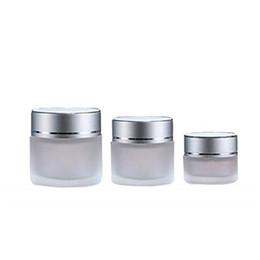 botellas de champú de plástico al por mayor Rebajas Jar 20g vidrio esmerilado cosmético de la botella de muestra vacía Cream Face Lip Balm contenedor de almacenamiento recargable con plata tapas 20 ml YTH1636-20