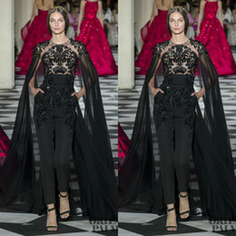 short sleeve lace capes Coupons - Black 2019 Jumpsuits Evening Dresses With Cape Jewel Neck Lace Appliqued Beads Prom Gowns Zuhair Murad Formal Party Dress