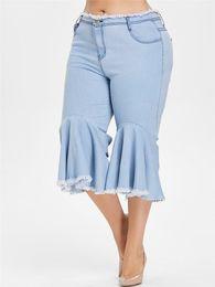 jeans desgastado para mulheres Desconto Tamanho grande Novo 2019 Verão Calças Jeans Flare Mulheres Ruffle Desgastado Hem Calças Denim Jeans de Perna Larga Plus Size