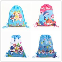 Детские акулы нетканые ткани шнурок сумки торговый школа плавание рюкзаки детские акулы мультфильм дети День рождения подарки сумка 12 шт. от