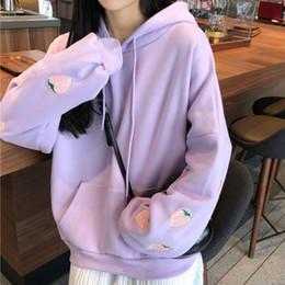 Lavendel hoodie online-Erdbeere Stickerei Lavendel-weißer Sweatshirt-Frühlings-Herbst-Frauen lösen lange Ärmel Tops Maxi-Hoodie