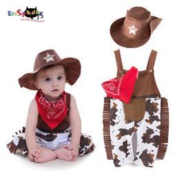 Bebê recém-nascido cosplay on-line-Eraspooky Recém-nascidos Romper Fotografia Traje para o Bebê Menino Bodysuit Cowboy Bebê Halloween Cosplay Criança Roupas para Crianças