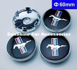 Canada 4pcs 60mm emblème de voiture emblème de moyeu de roue capuchons centre couverture noire pour Ford Mustang Cobra Jet centre de roue de roue Shelby cap Offre