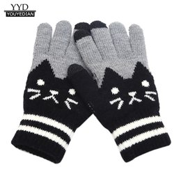 handschuhe taktisch grün Rabatt Handschuhe für Damen Herren Winter Cut Cat Knit Klick Bildschirm Finger Bildschirm Warmer Fleece Handschuh guantes taktiles femme hiver