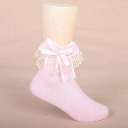 корейские девушки носки кружева Скидка New Cute Lace Bow Solid Cotton Lace Princess Socks Children Kids Toddler Girl Clothing Korean Spring Autumn Winter Warm Socks