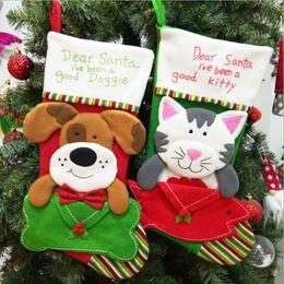 2019 sacos em forma de cão Forma do Cão de gato de Natal Meia de Doces Saco de Presente Para O Natal Festa Festiva Suprimentos Meias Titulares de Presente sacos em forma de cão barato