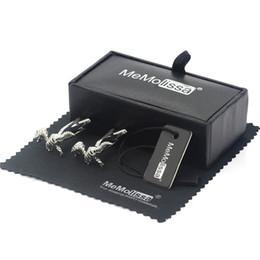 Silberne wischen online-MeMolissa Display Box Manschettenknöpfe Silber Dinosaurier Manschettenknöpfe Kupfer Material 3D Dinosaurier Skelett Design Free Tag Wischtuch