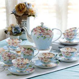 Conjunto de chá de porcelana europeia on-line-Conjunto de 21 peças, Conjunto de Xícara de Café Delicado com Porcelana de Osso, Xícara de Chá Européia Vintage, Chaleira, Bule de Café e Bule e Xícara de Chá J190716