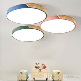 Cozinha teto luz madeira on-line-Multicolour Modern teto LED super fino 5cm sólidos candeeiros de tecto de madeira para sala de estar dispositivo Quarto Cozinha Iluminação